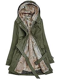 LvRao Mujer invierno largo chaquetas de abrigo espesan caliente parka con capucha chaquetas acolchadas