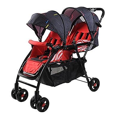 SHOUHOUZHE Cochecitos De Bebé Gemelos Coche De Bebé Plegable Ligero Puede Sentarse O Mentir Rojo (99 * 51 * 103cm)