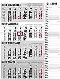 4-Monatskalender Kombi 2019 - Wandkalender / Bürokalender (34 x 59 geöffnet) - mit Datumsschieber - mit Jahresübersicht
