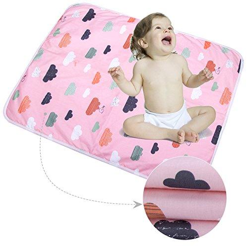 3 Stück Säugling Wasserdicht Urin Matte Abdeckung - Atmungsaktiv Pad Protector wechseln fürs Kleinkind Jungen Mädchen (Wolken blühen, L - 60 x 75 cm (3 Stück))