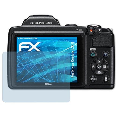atFoliX Schutzfolie kompatibel mit Nikon Coolpix L310 Folie, ultraklare FX Displayschutzfolie (3X)