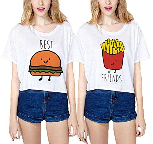 Best Friends T-shirt JWBBU® Bon ami hamburger frites t-shirt Imprimé Motif Pour deux femmes été 2 pièces (Best-S+Fr-S)