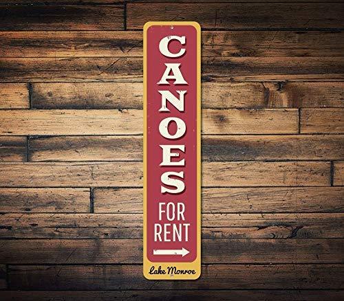 qidushop Vertikales Schild mit Kanus zum Mieten von Pfeil, personalisiertes Geschenk für See, Haus und Hütte, Metall, für Zuhause, Wanddekoration, Postschild für Damen und Herren