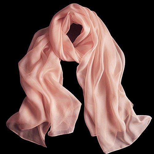 MEIDUO Tücher und Schals Weibliche Seidenschal 100% Seide Frühling Und Winter Winter Seide Schals Schal Rechteck 180 * 110 cm ( Farbe : Nude color ) (Flanell-schal)