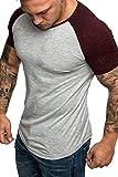 Yidarton Homme T-Shirt Coton Manches Courtes Col Rond Contraste Tee (Vin Rouge, L)