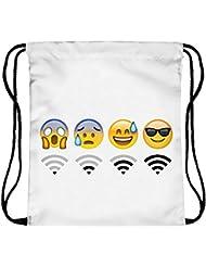 "ocona© ""Wifi"" Turnbeutel Emoji Emoticons Smileys Sportbeutel Rucksack Gymsack Stringbag Hipster Sack Umhängetasche, weiß"