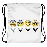 ocona© Emoji Emoticons Smileys Turnbeutel Rucksack Gymsack Stringbag Wifi