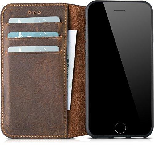 Wallet-bild-inhaber (Blumax Echt Ledertasche für Apple iPhone 8 und iPhone 7 auch iPhone 6s/6 mit Kartenfach TPU SchutzhülleTasche Leder Hülle mit Standfunktion)