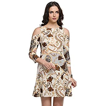 @499 Women's Cold Shoulder Sleeve Casual Gold Dress