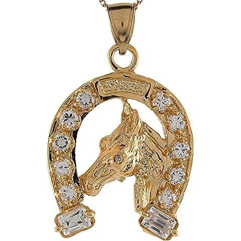 9ct Yellow Gold White CZ Horse Head Lucky Horseshoe Equestrian Charm Pendant