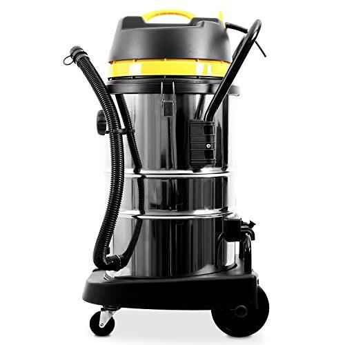 Klarstein IVC-50 • Industriesauger • Nasssauger • Trockensauger • 2000 W • IP X4-Schutz • Doppelradmotor • 50 Liter Edelstahl-Behälter • Schnellverschlüsse aus Metall • HEPA-Feinstofffilter • 70 cm Wasserablaufschlauch • umfangreiches Zubehör • silber-gelb - 5