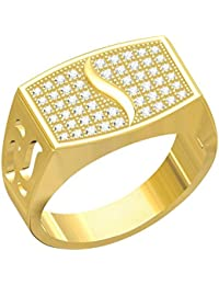 Spangel Fashion Designer 18 Ct. Gold Plated American Diamond Jewellery Ring For Men - B077VT1527