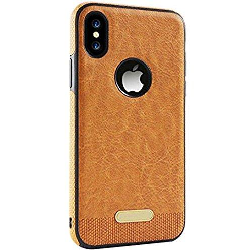 JEPER iPhone X hülle Leder, iPhone X Hülle, 360 Grad Rundum-Schutz Premium PU Ledertasche Handyhülle Schutzhülle Backcover Schale für Apple iPhone X (iPhone X, Brown) Brown Handy Case