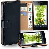OneFlow Tasche für Sony Xperia V Hülle Cover mit Kartenfächern   Flip Case Etui Handyhülle zum Aufklappen   Handytasche Schutzhülle Zubehör Handy Schutz Bumper in Schwarz