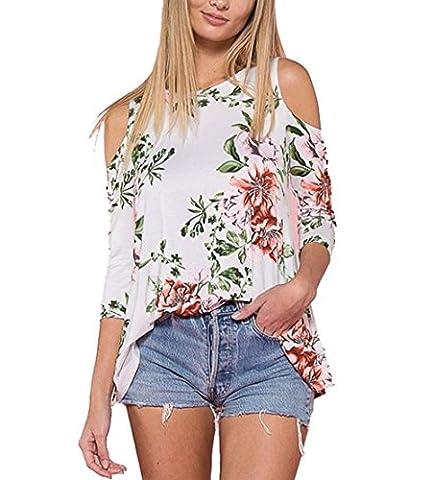 Hirolan_Frau Sexy Aus Schulter Tops T-Shirt Blumen Gedruckt Beiläufig Bluse (Weiß, S) (Checked Cami)