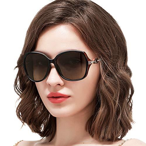 ARLTTH Sonnenbrille für Damen Polarisiert Großer Rahmen Verlaufsglas 100% UV400 Schutz (Brauner Rahmen/Polarisiert Braune Linse)
