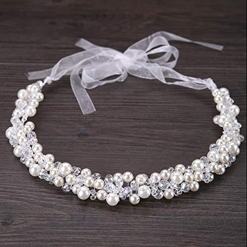 LFDHG Braut Haarschmuck Frauen Perle Perlen Stirnbänder Haarschmuck Indische Perlen Kopfschmuck Hochzeit Kopf Kette Haarschmuck