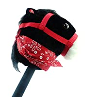 Black Hobby Horse with Bandana and Sound - Horse on a Stick - Kids Toys - Horse Toys