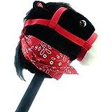 Caballo de afición negro con bandana y sonido - caballo en un palo - juguetes para niños - juguetes de caballo