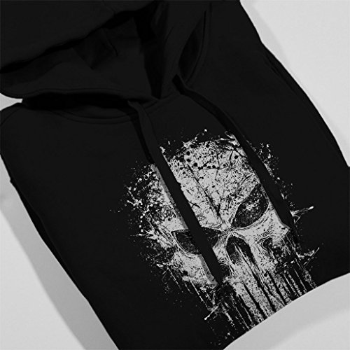 Punisher Splatter Skull Womens Hooded Sweatshirt Black