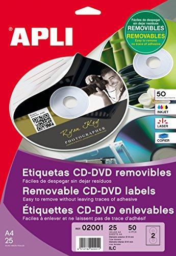 APLI 2001 - Etiquetas blancas imprimibles para CD (ext. Ø114 int. Ø41), adhesivo removible 25 hojas