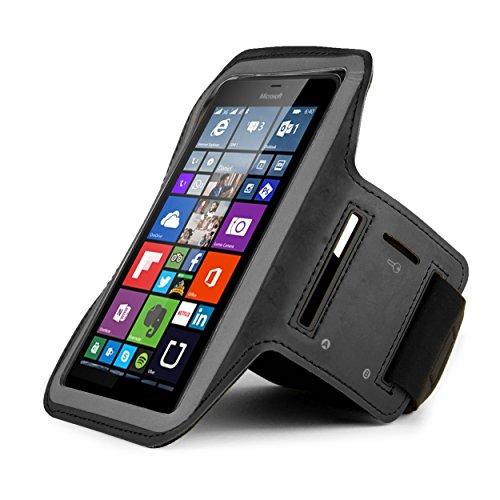 Armband für den Sport und zum Joggen, Schutzhülle für Microsoft Lumia 950640XL/Wileyfox Spark X/BLU Vivo 5R-4G LTE/Motorola Moto Z Play/BLU Life Mark (schwarz)