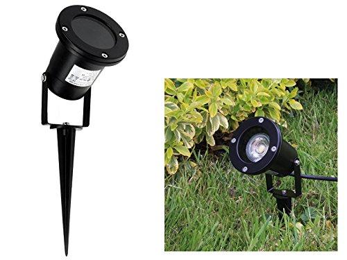 LED Garten-Strahler IP68/ IP44 mit Erdspieß und Kabel in schwarz mit 3W GU10 LED Lichtfarbe warmweiß