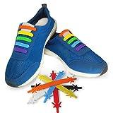 Gummi Schnürsenkel (Regenbogen - Kinder) - Elastische Silikonschnürsenkel mit besonderem Design, einfaches Schnüren und Aufschnüren - Perfekt für Kleinkinder Vorschulkinder körperlich benachteiligte