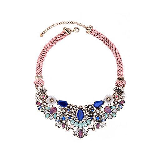 Clearine Damen Stammes Ethnisch Kristall Mix-Shape Beaded Cluster Statement Halskette Bunt Antique Gold-Ton