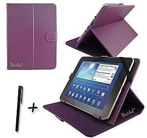 """Pourpre PU cuir Étui-support housse en pour Logicom Tab1062 10.1"""" 10.1 pouce inch tablette PC + Stylet"""
