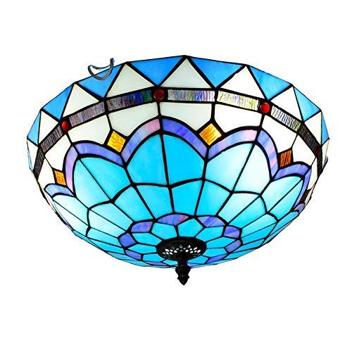 kemeng Tiffany-Stil Deckenleuchte, Moderne Mediterrane Romantische Glasmalerei Pendelleuchten, Für Schlafzimmer, Kücheninsel, Balkon, Badezimmer E27 × 3 - Moderne Glasmalerei