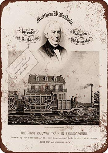 SIGNCHAT 1832 del Primer Tren En Pennsylvania Baldwin Old Ironsides Blechschild, 20,3 x 30,5 cm -