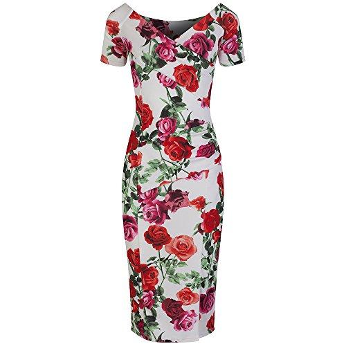 Pretty Kitty Fashion Weiß Blumen Wiggle-Bleistift-Kleid Blumenblüte Schaukel 50er Jahre (Die Wiggles Kostüme)