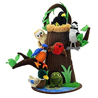 The Puppet Company - Hide Away Puppets - Tree House With Nest and Pond Finger Puppet Set