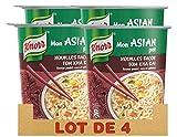Knorr Mon Asian Pot Repas Express Portion Individuelle Nouilles Façon Tom Kha Kai, Saveur Poulet, Coco et Galanga (Lot de 4x65g)