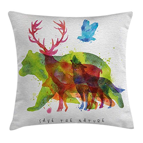 MLNHY Animal Decor Throw Pillow Cushion Cover, Alaska Animals Bears Wolfs Eagles Deers in Abstract Colored Shadow Like Print, Decorative Square Accent Pillow Case, 18 X 18 Inches, Multicolor - Golden Eagle Deer