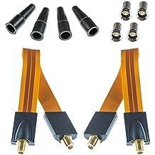 2x Cable pasaventanas Poppstar SAT, 4x enchufe F dorado, 4x arandelas de goma, longitud aprox. 28 cm