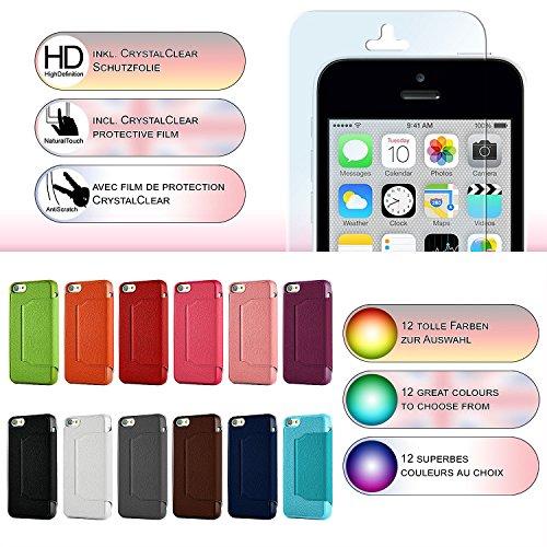 iPhone 5C Hülle Hell-Blau mit Sicht-Fenster [OneFlow Window Cover] Schutzhülle Ultra-Slim Handyhülle für iPhone 5C Case Flip Handy-Tasche Stand-Funktion PINK