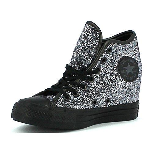 Converse - Converse All Star Donna Scarpe Sportive Zeppa Glitterate Lux Mid - Argento, 36