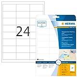 Herma 4681 Wetterfeste Folien-Etiketten transparent matt (66 x 33,8 mm) 600 Aufkleber, 25 Blatt DIN A4 Klebefolie, bedruckbar, selbstklebend
