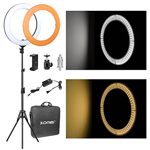 "Flash Ring Light, Zomei Stufenlos Dimmen 18""/ 46cm LED Ring Licht mit Licht Stand, Mini Ball Kopf und Telefon Adapter 58W 5500K Beleuchtung Kit für Youtube Video, Make-up Schießen, Portrait"