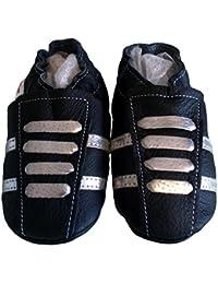 """""""Basket Métal"""" de BBKDOM- Chaussons bébé et enfant en cuir souple de qualité supérieure Fabrication Européenne de 0-5 ans"""