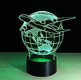 Lumière De Nuit 3D Voler Le Monde Globe Terrestre Avion 3D Led Lampe Art Sculpture Lights In Colors 3D Lampe D'Illusion D'Optique Avec Bouton Tactile