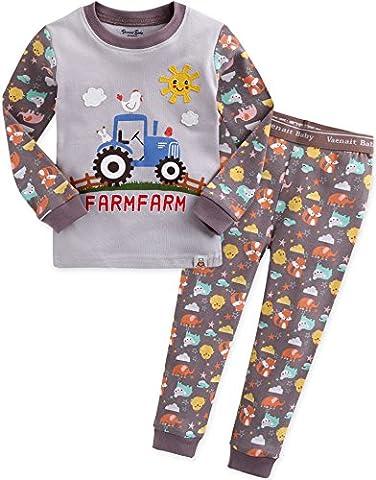 Vaenait Baby Kinder Jungen Nachtwaesche Schlafanzug-Top Bottom 2 Stueck Set Funny Farmfarm M