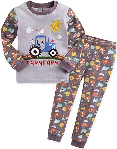 Vaenait baby 74-122 Saeugling Jungen Bekleidung Langarm zweiteilig Schlafanzug niedlich Funny Farmfarm S