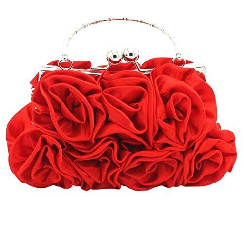 BZLine® Frauen Satin Rose Pure Farbe Handtasche Abend Taschen Hochzeit Handtaschen (Rot) (Satin-abend-tasche Rote)