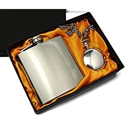 Silk Lined Gift Boxed Pocket Watch - 6oz Hip Flask. Fathers Day. Christmas. Wedding. Best Man. Birthday.