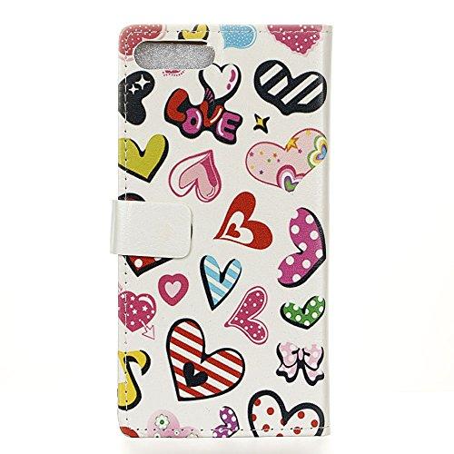 Voguecase® für Apple iPhone 7 4.7 hülle,(Briefumschlag) Kunstleder Tasche PU Schutzhülle Tasche Leder Brieftasche Hülle Case Cover + Gratis Universal Eingabestift Bunt Herzen 02