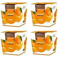 Pajoma Duftkerze 4er Set Orange im satinierten Glas, 124 g, Brenndauer: 25 Stunden, in Edler Geschenkverpackung preisvergleich bei billige-tabletten.eu