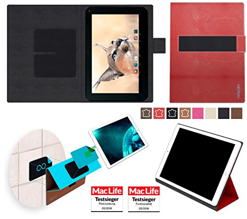 reboon Hülle für Blaupunkt Endeavour 1001 DVBT Tasche Cover Case Bumper | in Rot Leder | Testsieger